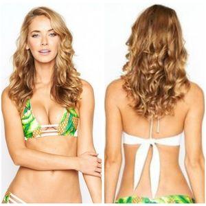 Montce Swim White Leaf Bikini Top
